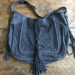 Zara Basic Blue Suede Boho Braided Tassel Bag